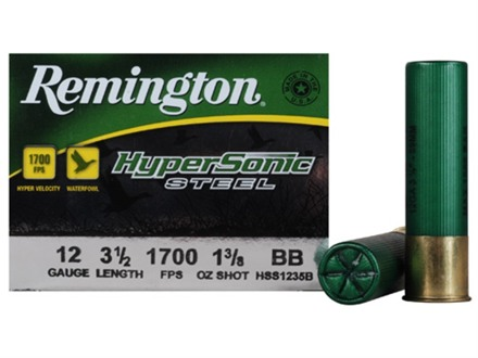 "Remington HyperSonic Ammunition 12 Gauge 3-1/2"" 1-3/8 oz BB Non-Toxic Steel Shot"