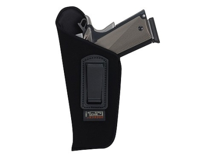 "Uncle Mike's Open Style Inside the Waistband Holster Left Hand Large Frame Semi-Automatic 4.5"" to 5"" Barrel Ultra-Thin 4-Layer Laminate  Black"
