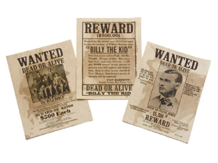 Collector's Armoury Replica Wanted Posters Set of 3 - Billy the Kid, Wild Bunch and Jesse James Parchment
