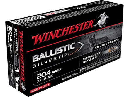 Winchester Supreme Ammunition 204 Ruger 32 Grain Ballistic Silvertip