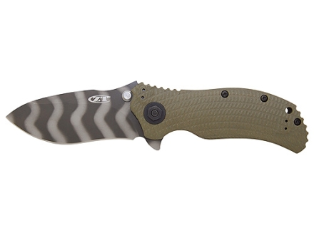 "Zero Tolerance ZT0301 Folding Tactical Knife 3.75"" Drop Point S30V Tungsten Coated Tiger Striped Stainless Steel Blade G-10 Handle Ranger Green and Black"