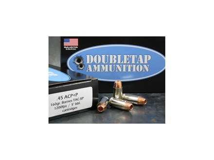 Doubletap Ammunition 45 ACP+P 160 Grain Barnes TAC-XP Hollow Point Lead-Free Box of 20