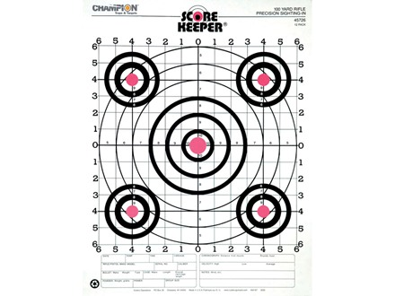 "Champion Score Keeper 100 Yard Small Bore Target 14"" x 18"" Paper Orange Bull Package of 12"