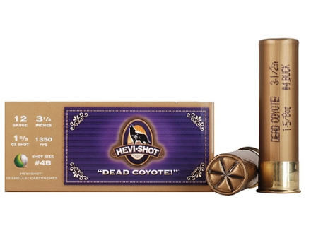 "Hevi-Shot Dead Coyote Ammunition 12 Gauge 3-1/2"" #4 Buckshot Non-Toxic 33 Pellets Box of 10"