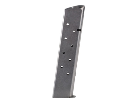 Metalform Magazine 1911 Government, Commander 45 ACP 10-Round Stainless Steel Matte Round Follower Welded Base