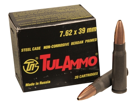 TulAmmo Ammunition 7.62x39mm 122 Grain Jacketed Hollow Point (Bi-Metal) Steel Case Berdan Primed Military Sealed Tin of 640 (32 Boxes of 20)