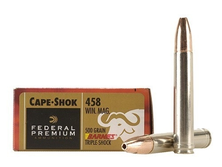Federal Premium Cape-Shok Ammunition 458 Winchester Magnum 500 Grain Barnes Triple-Shock X Bullet Hollow Point Lead-Free Box of 20