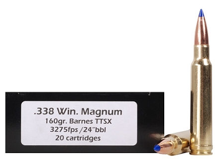 Doubletap Ammunition 338 Winchester Magnum 160 Grain Barnes Tipped Triple-Shock X Bullet Hollow Point Lead-Free Box of 20