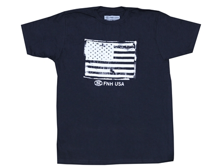 FNH American Flag T-Shirt Short Sleeve Cotton Black