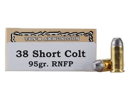 Ten-X Cowboy Ammunition 38 Short Colt 95 Grain Lead Round Nose Flat Point Box of 50