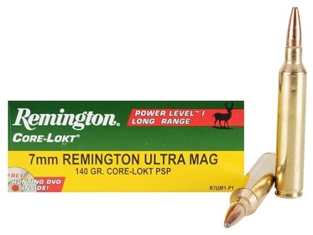 Remington Premier Power Level 1 Ammunition 7mm Remington Ultra Magnum 140 Grain Core-Lokt Pointed Soft Point Box of 20