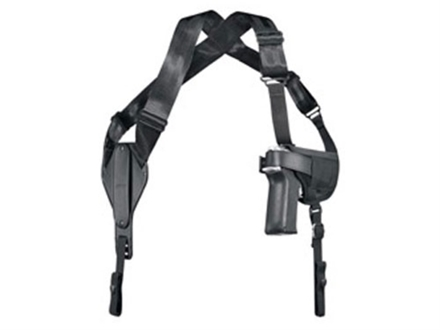 "Uncle Mike's Cross-Harness Horizontal Shoulder Holster Ambidextrous Large Frame Semi-Automatic 4.5"" to 5"" Barrel Nylon Black"