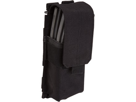 5.11 Stacked Single AR-15 Magazine Pouch with Cover Nylon Black