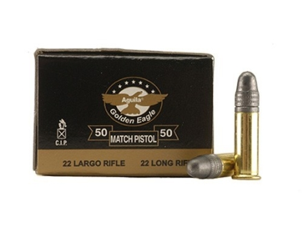 Aguila Match Pistol Ammunition 22 Long Rifle 40 Grain Lead Round Nose Box of 500 (10 Boxes of 50)