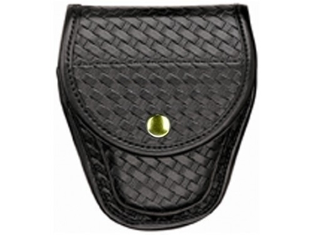 Bianchi 7900 AccuMold Elite Covered Cuff Case Brass Snap Basketweave Trilaminate Black