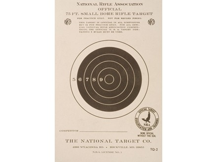 NRA Official Smallbore Rifle Training Target TQ-2 75' Paper Package of 100