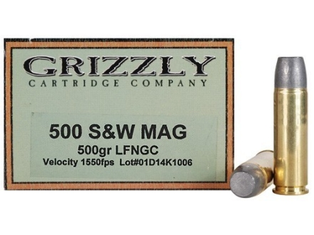 Grizzly Ammunition 500 S&W Magnum 500 Grain Long Flat Nose Gas Check Box of 20