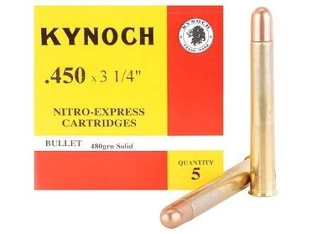 "Kynoch Ammunition 450 Nitro Express 3-1/4"" 480 Grain Woodleigh Weldcore Solid Box of 5"