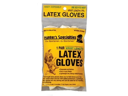 Hunter's Specialties Field Dressing Gloves Wrist Length Latex 1 Pair