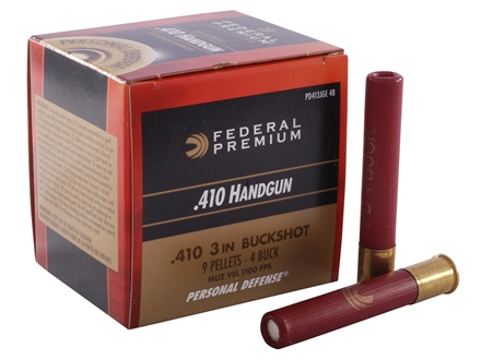 "Federal Premium Personal Defense Ammunition 410 Bore 3"" #4 Buckshot 9 Pellets Box of 20"