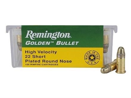 Remington Golden Bullet Ammunition 22 Short High Velocity 29 Grain Round Nose Box of 100