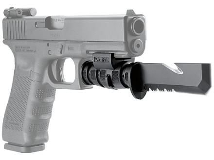 LaserLyte Pistol Bayonet KA-BAR Mini Becker Tac Tool  Black Steel Blade with Quick-Detachable Picatinny-Style Mount and Polymer Sheath Black