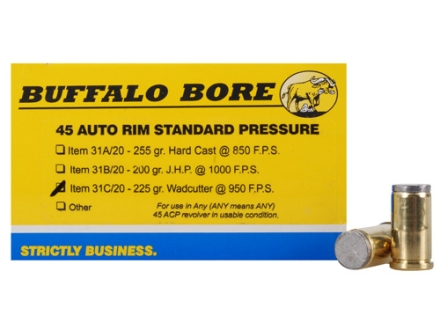 Buffalo Bore Ammunition 45 Auto Rim (Not ACP) 225 Grain Hard Cast Wadcutter Box of 20