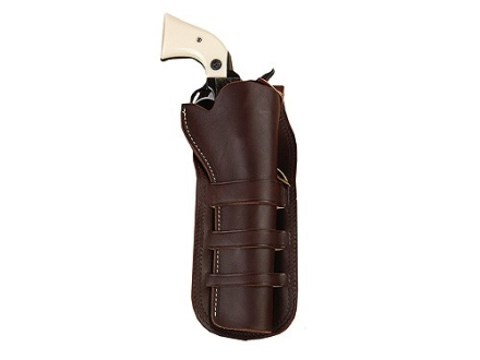 "Hunter 1091 Triple Loop Holster Right Hand Colt Single Action Army, Ruger Blackhawk, Vaquero 7.5"" Barrel Leather Antique Brown"