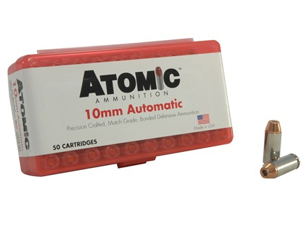Atomic Ammunition 10mm Auto 180 Grain Bonded Jacketed Hollow Point Box of 50