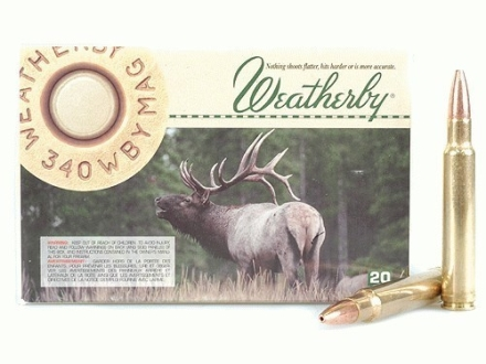 Weatherby Ammunition 340 Weatherby Magnum 225 Grain Barnes X Bullet Hollow Point Lead-Free Box of 20