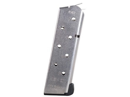 Chip McCormick Compact Power Mag Magazine with Base Pad 1911 Officer 45 ACP 8-Round Stainless Steel