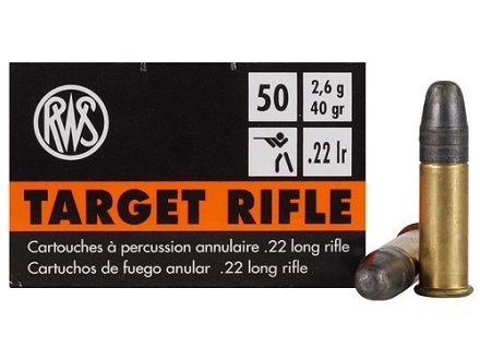 RWS Target Rifle Ammunition 22 Long Rifle 40 Grain Lead Round Nose Box of 500 (10 Boxes of 50)