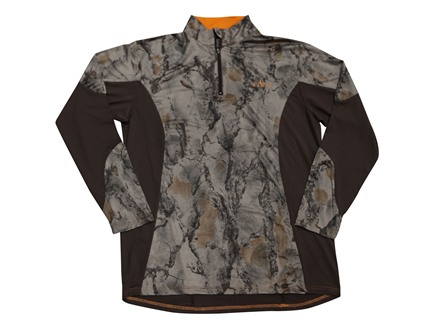 Natural Gear Men's Scent Factor Performance 1/4 Zip Shirt Long Sleeve Polyester Natural Gear Natural Camo and Brown Large 41-44