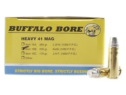Buffalo Bore Ammunition 41 Remington Magnum 230 Grain Lead Keith-Type Semi-Wadcutter