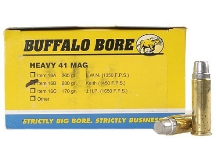 Buffalo Bore Ammunition 41 Remington Magnum 230 Grain Lead Keith-Type Semi-Wadcutter