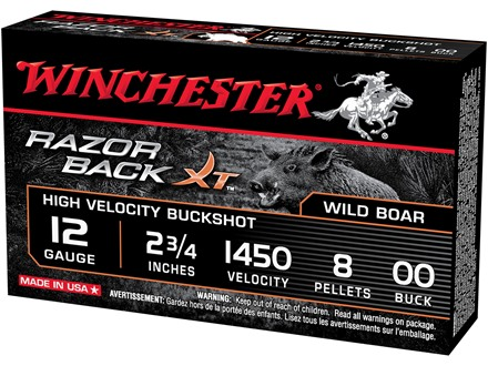 "Winchester Razorback XT Ammunition 12 Gauge 2-3/4"" Buffered 00 Plated Buckshot 9 Pellets"