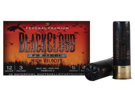 "Federal Premium Black Cloud Ammunition 12 Gauge 3"" 1-1/8 oz #4 Non-Toxic FlightStopper Steel Shot High Velocity"