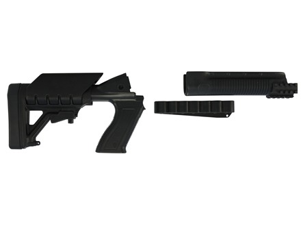 Archangel 500SC Tactical Shotgun Stock System Mossberg 500/590 with Receiver Mount Shell Carrier - Black Polymer