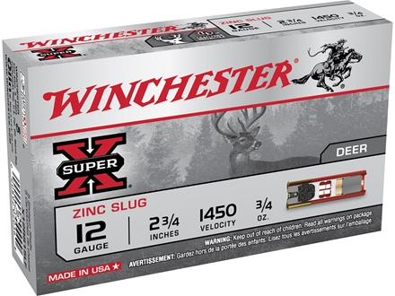 "Winchester Super-X Ammunition 12 Gauge 2-3/4"" 1 oz Foster-Type Slug"