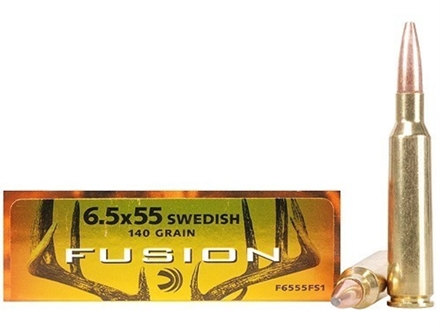 Federal Fusion Ammunition 6.5x55mm Swedish Mauser 140 Grain Spitzer Boat Tail Box of 20