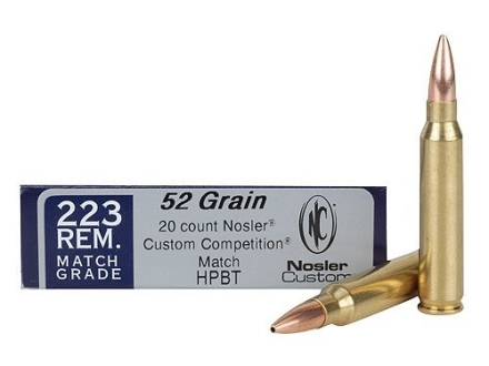 Nosler Custom Ammunition 223 Remington Match 52 Grain Hollow Point Box of 20