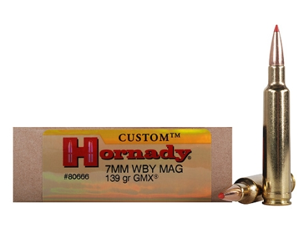 Hornady Custom Ammunition 7mm Weatherby Magnum 139 Grain Gilding Metal Expanding Boat Tail Lead-Free Box of 20