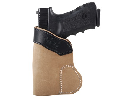 DeSantis Pocket-Tuk Inside the Waistband or Pocket Holster Right Hand Glock 17, 19, 22, 23, 36, Ruger SR9, Sig P220 Leather Brown