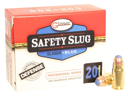 Glaser Blue Safety Slug Ammunition 357 Sig 80 Grain Safety Slug Package of 20