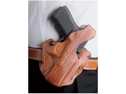 DeSantis Thumb Break Scabbard Belt Holster Right Hand Glock 26, 27, 33 Suede Lined Leather Tan