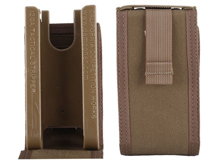 "California Competition Works Shell Caddy Tactical Shotshell Ammunition Carrier 12 Gauge 6 Round 2-3/4"" and 3"" Shells Polymer Coyote Brown with Nylon Cover"