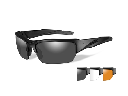 Wiley X Black Ops WX Valor Sunglasses Smoke Gray, Clear, and Light Rust Lens