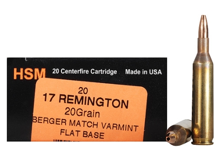 HSM Varmint Gold Ammunition 17 Remington 20 Grain Berger Varmint Hollow Point Flat Base Box of 20