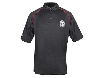 "Springfield Armory Crossed Cannons Polo Shirt Short Sleeve Mesh Synthetic Blend Black Large (44"")"