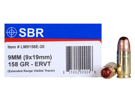 SBR LaserMatch Tracer Ammunition 9mm Luger 158 Grain Full Metal Jacket ERVT Box of 20